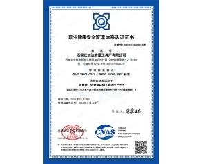 职业健康安全管理体系证书中文
