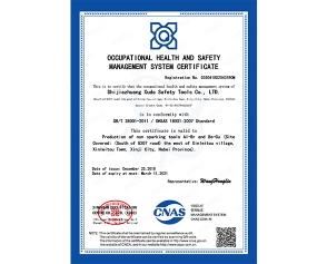 职业健康安全管理体系证书英文